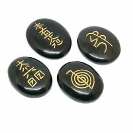 Reiki Crystals Healing Energy Therapy Set Gemstone Obsidian Cho Ku Rei Boxed